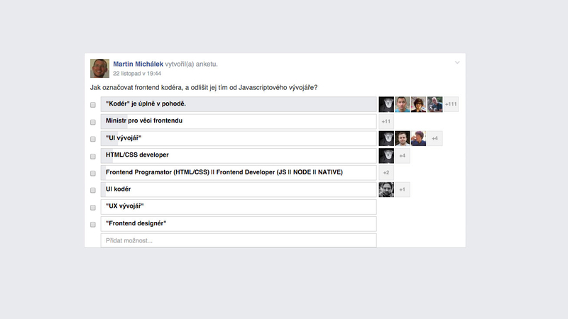 """Anketa o""""kodérovi"""" na Facebooku"""