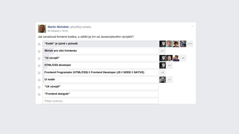 """Anketa o """"kodérovi"""" na Facebooku"""